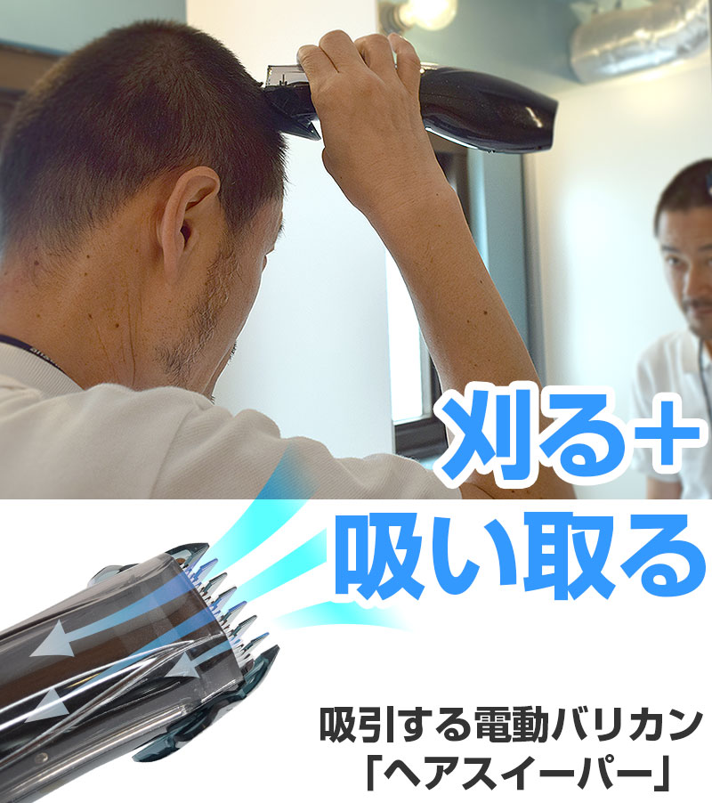 Rely on self-cutting. Rechargeable hair clipper that doesn't get dirty because it sucks out as soon as it is cut