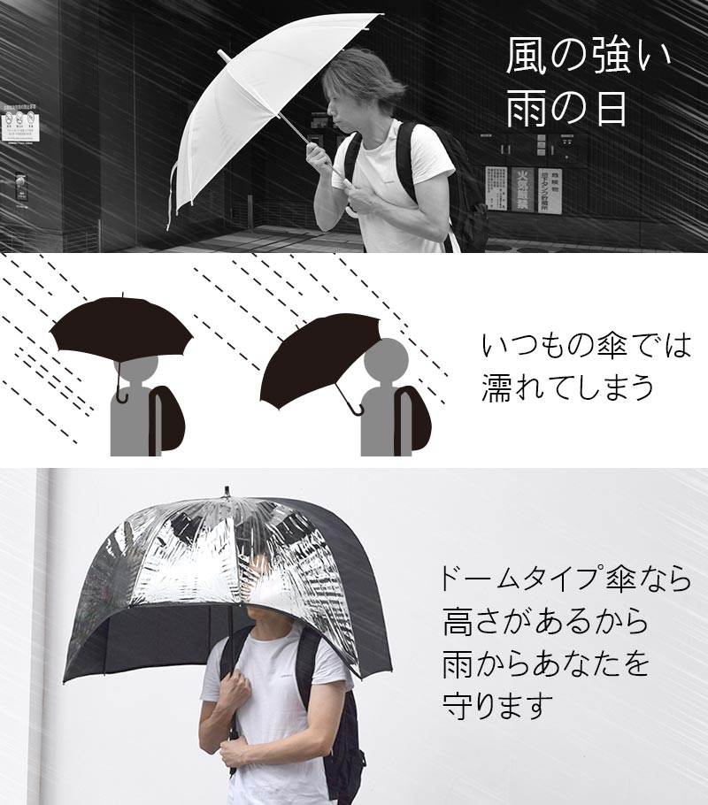 Umbrella that covers the upper body firmly